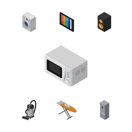 vac: Isometric Device Set Of Vac, Microwave, Laundry And Other Vector Objects. Also Includes Laundry, Vacuum, Kitchen Elements.
