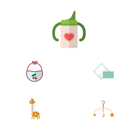 Flat Infant Set Of Nursing Bottle, Toy, Mobile And Other Vector Objects. Also Includes Bottle, Bib, Giraffe Elements.