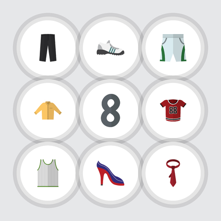 closet: Flat Dress Set Of Heeled Shoe, Sneakers, Trunks Cloth And Other Vector Objects. Also Includes Shoes, Tie, Cloth Elements.