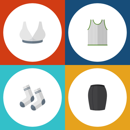 Flat Garment Set Of Brasserie, Foot Textile, Stylish Apparel And Other Vector Objects. Also Includes Socks, Woman, Skirt Elements. Çizim