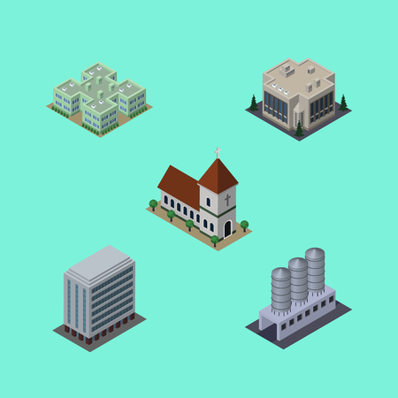 Isometric Architecture Set Of Company, Clinic, Water Storage And Other Vector Objects. Also Includes Catholic, Hospital, Chapel Elements.