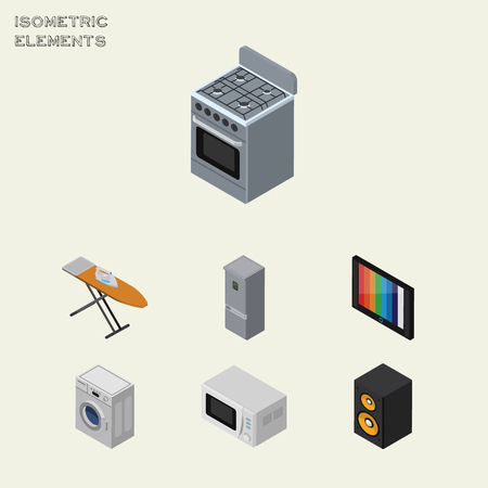 Isometric Electronics Set Of Laundry, Cloth Iron, Stove And Other Vector Objects. Also Includes Board, Music, Machine Elements. Illustration