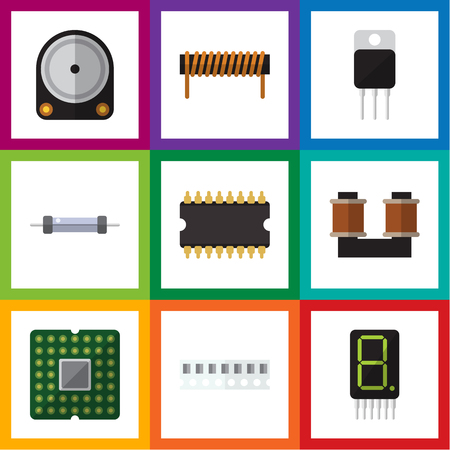 spare: Flat Technology Set Of Microprocessor, Coil Copper, Memory And Other Vector Objects. Also Includes Receiver, Bobbin, Resistor Elements.