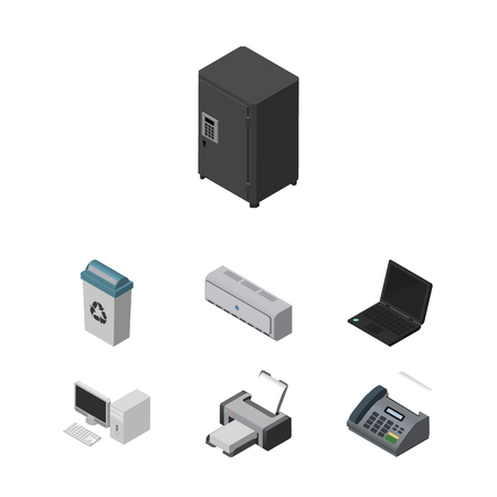 Isometric Work Set Of Garbage Container, Strongbox, Office Phone And Other Vector Objects. Also Includes Machine, Desktop, Computer Elements.