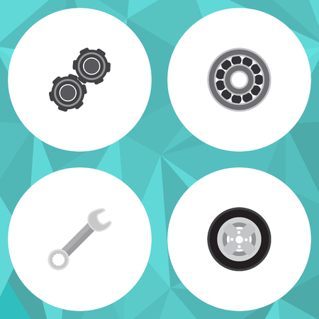 timing belt: Flat Service Set Of Belt, Tire, Brake Disk And Other Vector Objects. Also Includes Wheel, Wrench, Belt Elements.
