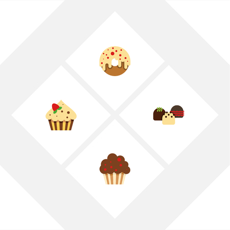 Flat Dessert; Set Of Doughnut, Confectionery, Muffin And Other Vector Objects. Also Includes Delicious, Cupcake, Muffin Elements. Illustration