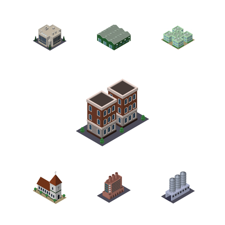 Isometric Urban Set Of Water Storage, House, Warehouse And Other Vector Objects. Also Includes Chapel, Storage, Hospital Elements.