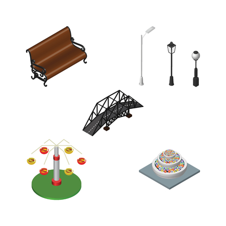 Isometric Urban Set Of Street Lanterns, Swing Attraction, Plants And Other Vector Objects. Also Includes Lanterns, Lights, City Elements. Illustration
