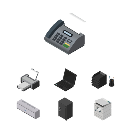 Isometric Work Set Of Laptop, Strongbox, Office Phone And Other Vector Objects. Also Includes Telefax, Photocopier, Telephone Elements.