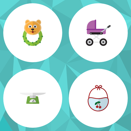 Flat Infant Set Of Pinafore, Rattle, Children Scales And Other Vector Objects. Also Includes Children, Bib, Scales Elements.