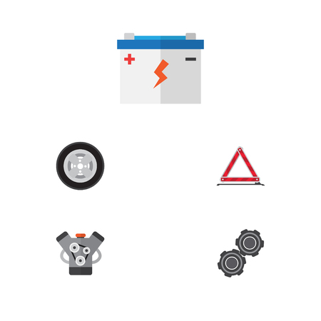 tread: Flat Service Set Of Belt, Motor, Warning And Other Vector Objects. Also Includes Battery, Wheel, Pulley Elements.