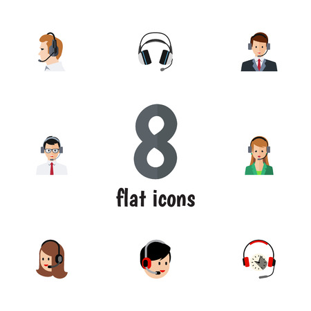 Flat Call Set Of Telemarketing, Secretary, Service And Other Vector Objects. Also Includes Help, Support, Headset Elements.
