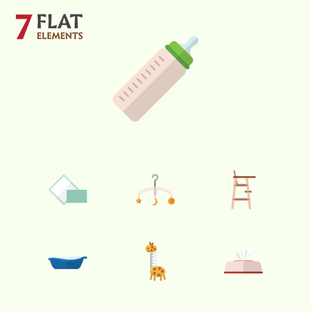 Flat Baby Set Of Toy, Feeder, Napkin And Other Vector Objects. Also Includes Feeder, Towel, Child Elements. Çizim