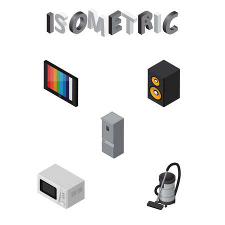 vac: Isometric Device Set Of Television, Vac, Kitchen Fridge And Other Vector Objects. Also Includes Vac, Microwave, Refrigerator Elements.