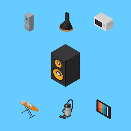vac: Isometric Appliance Set Of Air Extractor, Microwave, Vac And Other Vector Objects. Also Includes Fridge, Cleaner, Board Elements.