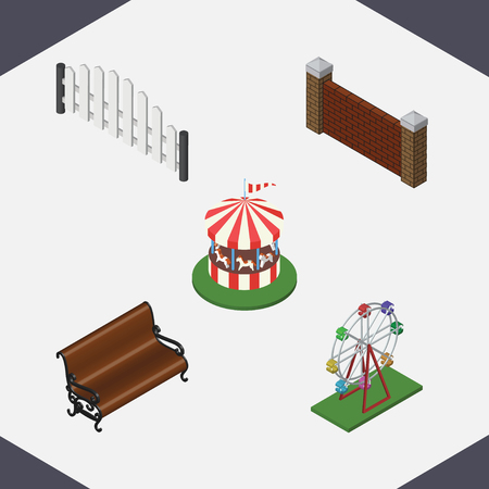 iron horse: Isometric Street Set Of Sitting, Carousel, Recreation And Other Vector Objects. Also Includes Wall, Wooden, Barricade Elements.