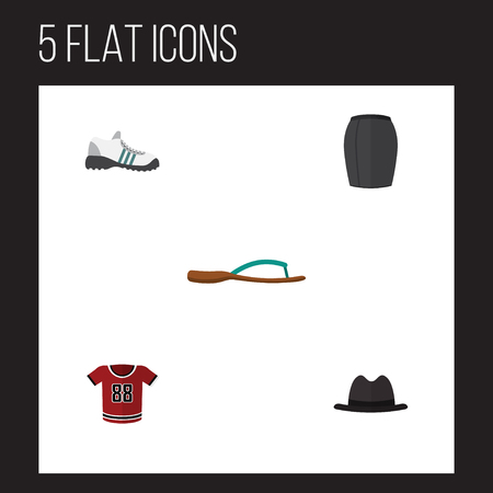Flat Garment Set Of Panama, Sneakers, Beach Sandal Vector Objects. Also Includes Blouse, Apparel, Shirt Elements.