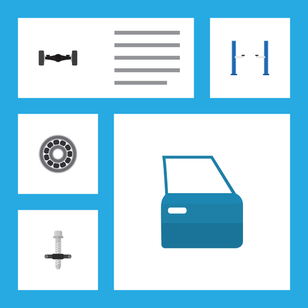 Flat Service Set Of Suspension, Muffler, Brake Disk And Other Vector Objects. Also Includes Disk, Door, Lifting Elements. Illusztráció