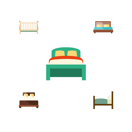 hotel bedroom: Flat  Set Of Hostel, Mattress, Bed And Other Vector Objects. Also Includes Double, Furniture, Mattress Elements.