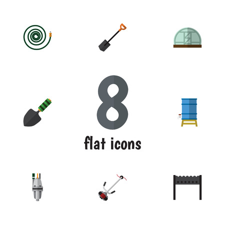 Flat Garden Set Of Grass-Cutter, Trowel, Spade And Other Vector Objects. Also Includes Trowel, Container, Water Elements. Illustration