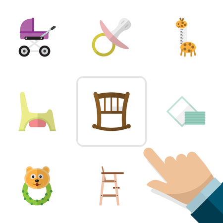 Flat Kid Set Of Child Chair, Toilet, Napkin And Other Vector Objects. Also Includes Baby, Towel, Cot Elements.