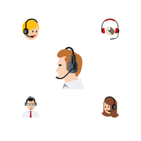 Flat Center Set Of Service, Call Center, Help And Other Vector Objects. Also Includes Earphone, Headset, Telemarketing Elements.