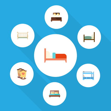 Flat Mattress Set Of Bed, Crib, Cot And Other Vector Objects. Also Includes Crib, Bed, Double Elements.