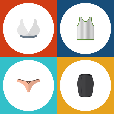 Flat Dress Set Of Lingerie, Stylish Apparel, Brasserie And Other Vector Objects. Also Includes Skirt, Lingerie, Underwear Elements.