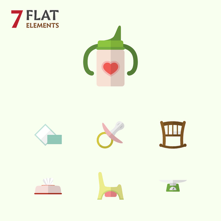 baby toilet seat: Flat Baby Set Of Toilet, Napkin, Nipple And Other Vector Objects. Also Includes Toilet, Bottle, Infant Elements.