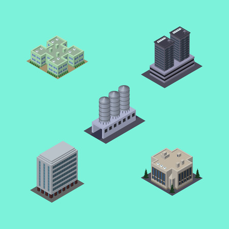 Isometric Building Set Of Office, Tower, Company And Other Vector Objects. Also Includes House, Company, Building Elements. Illustration