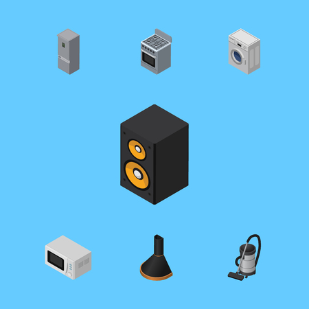 Isometric Electronics Set Of Microwave, Music Box, Kitchen Fridge And Other Vector Objects. Also Includes Kitchen, Music, Refrigerator Elements.