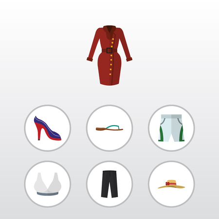 Flat Clothes Set Of Beach Sandal, Clothes, Brasserie Vector Objects. Also Includes Sandal, Clothes, Hat Elements. Illustration