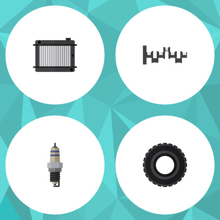 tread: Flat Parts Set Of Wheel, Spare Parts, Heater And Other Vector Objects. Also Includes Crankshaft, Plug, Radiator Elements.