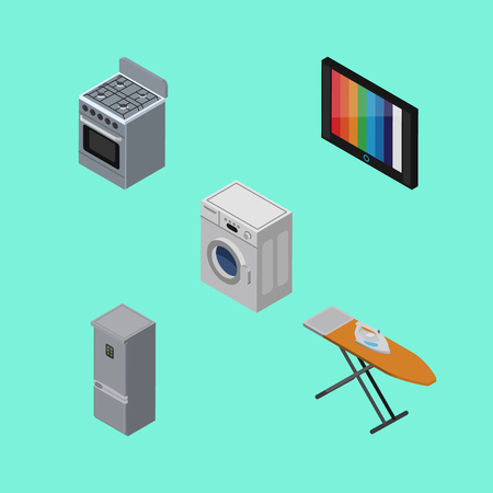Isometric Appliance Set Of Cloth Iron, Laundry, Television And Other Vector Objects. Also Includes Laundry, Cooker, Kitchen Elements.