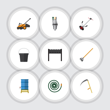 bbq barrel: Flat  Set Of Grass-Cutter, Container, Lawn Mower And Other Vector Objects. Also Includes Garden, Equipment, Hosepipe Elements.