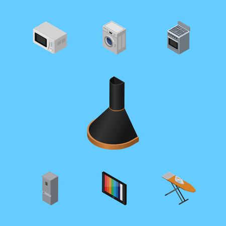 lcd display: Isometric Technology Set Of Stove, Cloth Iron, Kitchen Fridge And Other Vector Objects. Also Includes Fridge, Hood, Stove Elements.