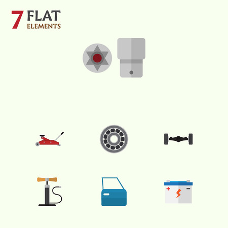 electricity export: Flat Auto Set Of Wheel Pump, Lifting, Brake Disk And Other Vector Objects. Also Includes Door, Lifting, Screwdriver Elements.