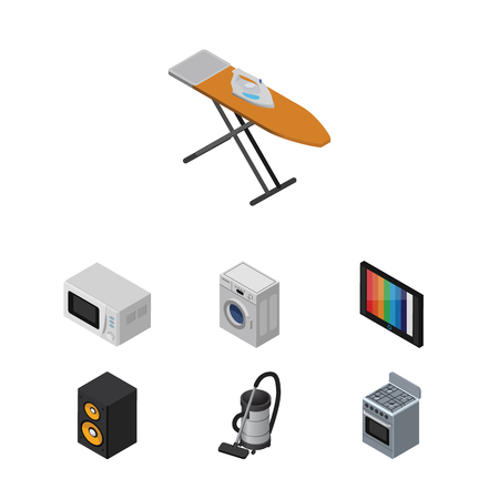 Isometric Appliance Set Of Laundry, Vac, Music Box And Other Vector Objects. Also Includes Cloth, Television, Music Elements.