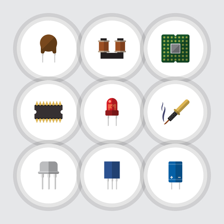 transistor: Flat Electronics Set Of Recipient, Unit, Transistor And Other Vector Objects. Also Includes Electronics, Triode, Transistor Elements. Illustration