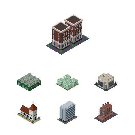 steeple: Isometric Architecture Set Of Clinic, Chapel, Office And Other Vector Objects. Also Includes Depot, Home, Company Elements.