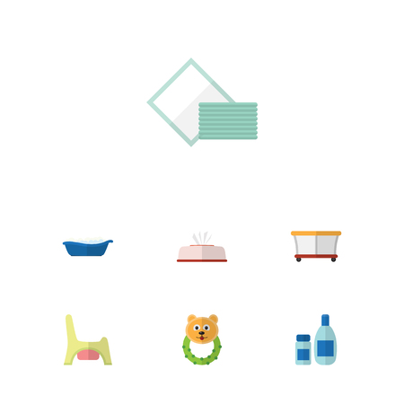 Flat Infant Set Of Rattle, Toilet, Cream With Lotion And Other Vector Objects. Also Includes Bathing, Toilet, Playpen Elements. Illustration