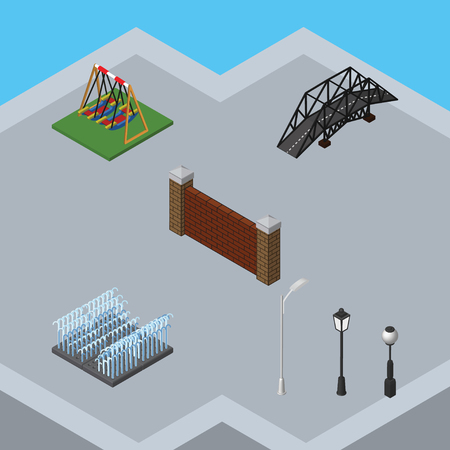 Isometric Urban Set Of Street Lanterns, Expressway, Barrier And Other Vector Objects. Also Includes Lanterns, Seesaw, Barrier Elements.