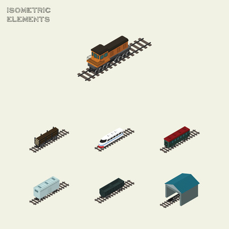 depot: Isometric Wagon Set Of Lumber Shipping, Railroad Carriage, Depot And Other Vector Objects. Also Includes Speed, Wood, Train Elements.