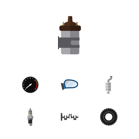 axles: Flat Parts Set Of Absorber, Tachometr, Auto Component And Other Vector Objects. Also Includes Mirror, Engine, Crankshaft Elements. Illustration