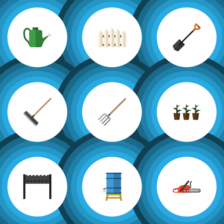 Flat  Set Of Flowerpot, Hacksaw, Harrow And Other Vector Objects. Also Includes Fence, Spade, Harrow Elements.