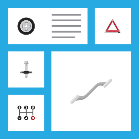 secure brake: Flat Auto Set Of Warning, Coupler, Muffler And Other Vector Objects. Also Includes Transmission, Warning, Silent Elements. Illustration