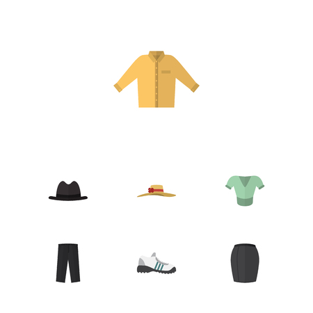 closet: Flat Dress Set Of Pants, Banyan, Stylish Apparel And Other Vector Objects. Also Includes Hat, Pants, Leggings Elements.