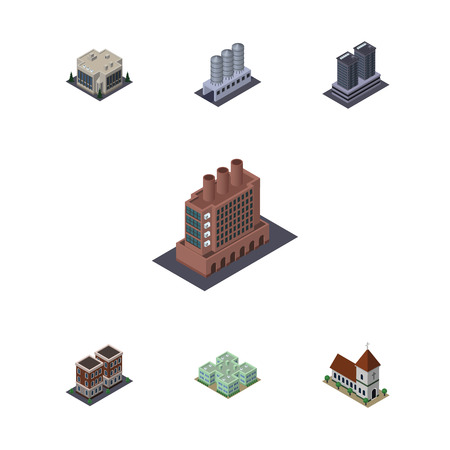 Isometric Construction Set Of Clinic, Chapel, Tower And Other Vector Objects. Also Includes Storage, Home, Tank Elements. Illustration