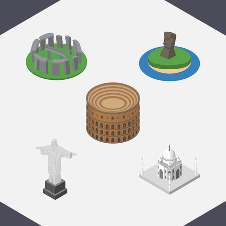 Isometric Architecture Set Of England, Rio, India Mosque Vector Objects. Also Includes Redeemer, Colosseum, Stonehenge Elements.