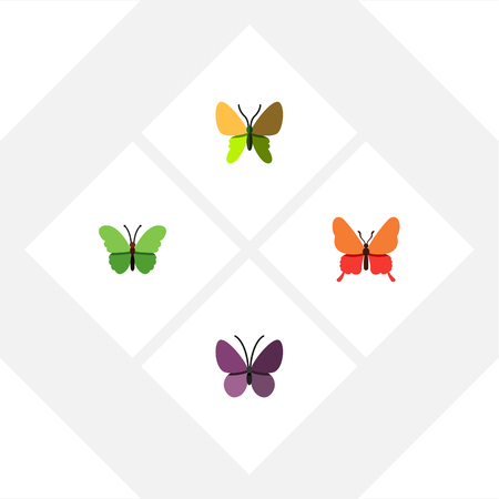 Flat Monarch Set Of Violet Wing, Milkweed, Danaus Plexippus And Other Vector Objects. Also Includes Moth, Insect, Monarch Elements. Illustration